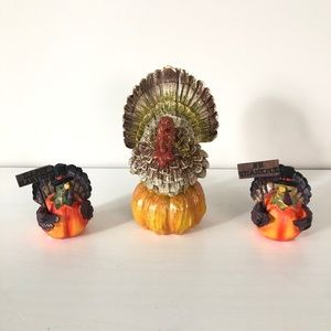 Set of 3 turkey figurines Thanksgiving decor